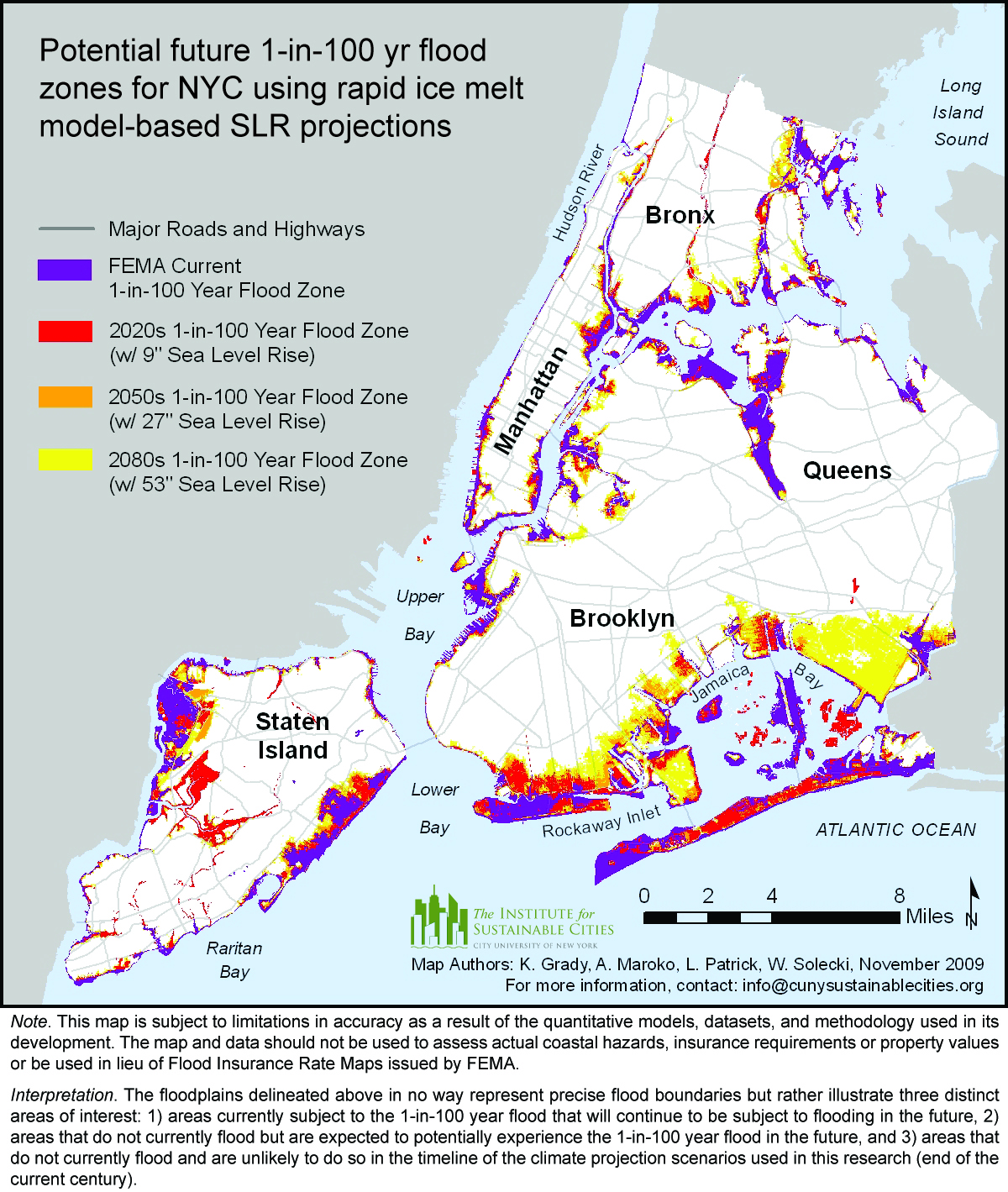 areas flooded in new york city by the 1 in100 year flood with future sea level rise uming rapid ice melt current fema 1 in100 year flood zone purple