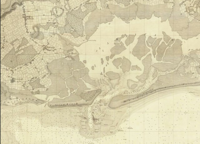 Jamaica Bay in 1844 - note the different location of the bay's entrance channel (Coney Island is to the far left)