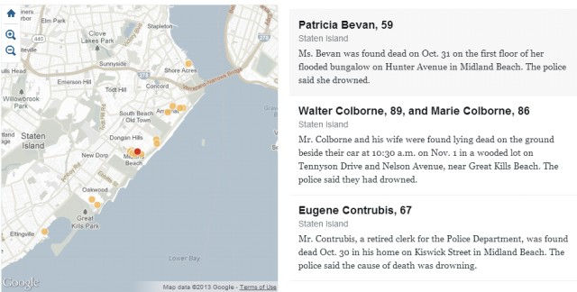 Map showing the south-east shore of Staten Island, fatalities (dots), and descriptions of cause-for-death.