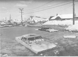 Winthrop Drive, in the Beachmont section of Revere, Mass., was flooded by waves and tidal surge during the Blizzard of '78 that overflowed the seawall (credit: The Boston Globe)