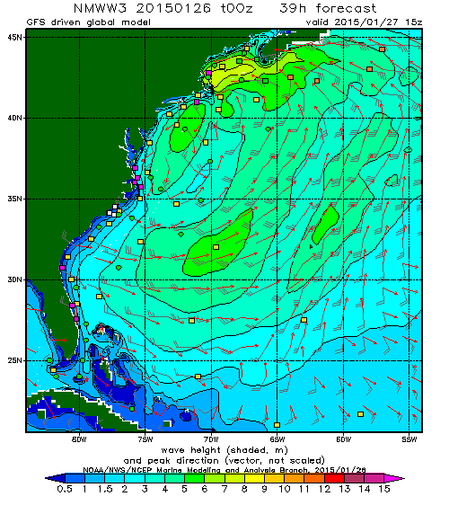 NOAA Wavewatch forecast for the US East Coast.